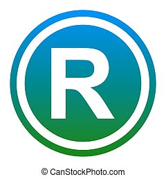 Registered Trademark sign. Vector. White icon in bluish...