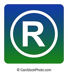 Registered Trademark sign. Vector. White icon at green-blue...