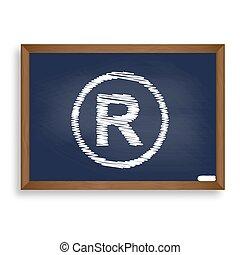 Registered Trademark sign. White chalk icon on blue school...