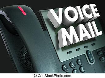 registrado, teléfono, palabras, correo, mensaje, voz, 3d