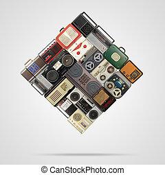 registrador, audio, sistema, retro
