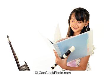 registrador, juego, niña, joven