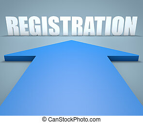 Registration - 3d render concept of blue arrow pointing to text.