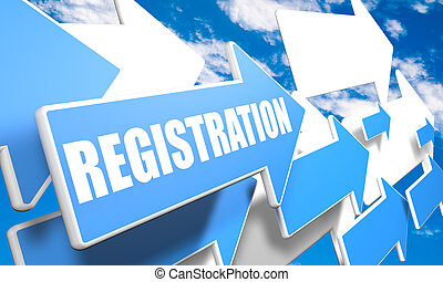 Registration 3d render concept with blue and white arrows flying in a blue sky with clouds