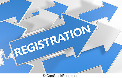 Registration 3d render concept with blue and white arrows flying over a white background.