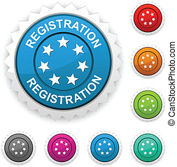 Registration award button. Vector.