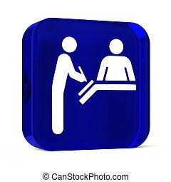 Registration Desk - Glass button icon with white health care...