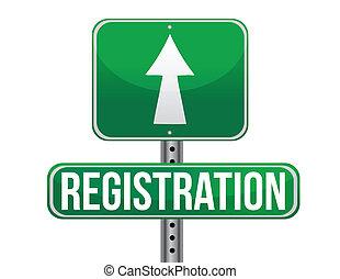 registration green traffic road sign illustration design over white