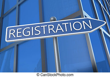 Registration - illustration with street sign in front of office building.