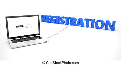 Registration - laptop notebook computer connected to a word on white background. 3d render illustration.