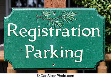 """""""Registration parking"""" sign"""