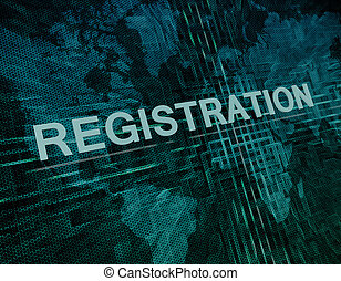 Registration text concept on green digital world map background