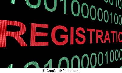 Registration text on binary data - Registration, binary...