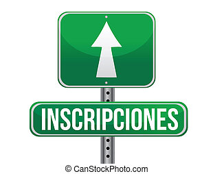 registrations in Spanish green traffic road sign illustration design over white