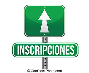 registrations in Spanish green traffic road sign ...