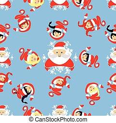 registrations, pattern., 年, holiday., ウェブサイト, デザイン, 。, 使用, 妖精, seamless, print..., 新しい, 円, クリスマス, claus, tシャツ, devushkasant, 腕時計, イラスト, アンダーシャツ, santa, 10, eps, s, ベクトル, 出版物