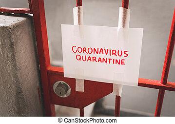 registrato, quarantena, carta, ferro, coronavirus, porta