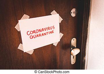 registrato, quarantena, carta, testo, coronavirus, porta