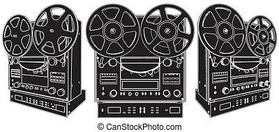 registratore, audio, stereo, professionale