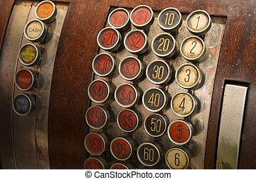 registratore cassa antico, bottoni