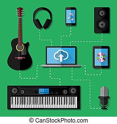 registrazione, musica, concetto, studio