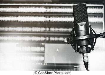 registrazione, professionale, microfono, studio
