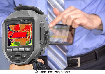 registrazione, uomo affari, termico, macchina fotografica