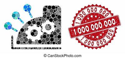 registre, espèces, 000, timbre, 1, mosaïque, gratté
