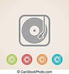 registreren, iconen, record., speler, vector, vinyl