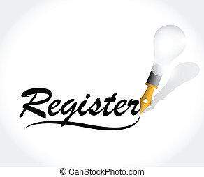 registreren, ontwerp, illustratie, meldingsbord