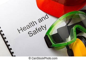registro, con, gafas de protección, audífonos, y, casco
