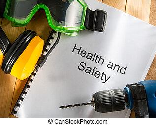registro, con, gafas de protección, taladro, y, audífonos