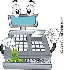 registro, contanti, mascotte