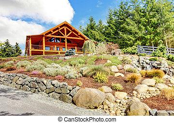 registro, flowers., cascada, colina, hogar, cabaña