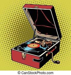 registro, fonógrafo, vinil, jogador
