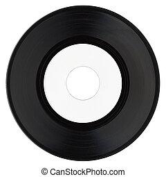 registro vinil, com, branca, etiqueta