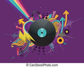 registro vinil, música, desenho