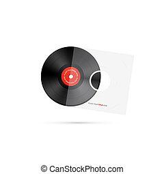 registro, vinil, vetorial, disco