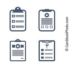 registros, médico, jogo, área de transferência