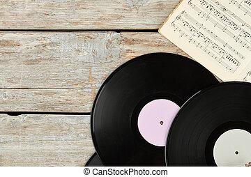 registros, musical, notas., vinil