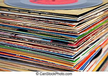 registros, viejo, vinilo, pila