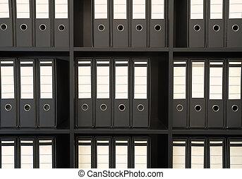 Registry on shelves, simple composition, details.