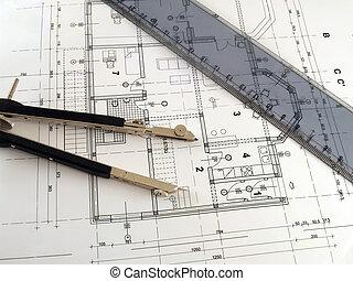 regla, divisor, plan, arquitectónico