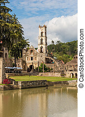regla, hacienda, hidalgo, szent, templom, mexico., mária