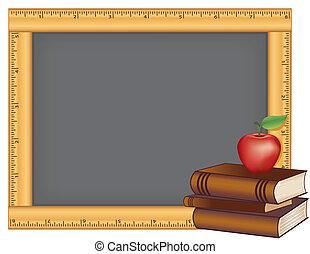 regla, marco, pizarra, libros, manzana
