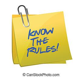 reglas, él, nota, escrito, saber, poste