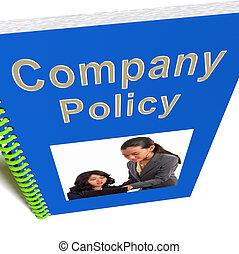 reglas, compañía, libro, política, empleados, exposiciones