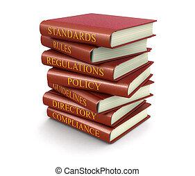reglas, conformidad, libros, pila