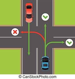 reglas, diagrama, vuelta, vector, four-way, intersección