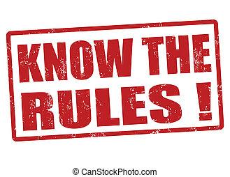 reglas, estampilla, saber